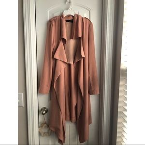 Blush Forever 21 Belted Longline Jacket